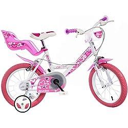 "Dino Bikes Little Heart 16"" Niñas Completo 16"" Metal Rosa, Color blanco bicicletta - Bicicleta (Hacia un lado, Completo, 40,6 cm (16""), Metal, Rosa, Blanco, Cadena)"