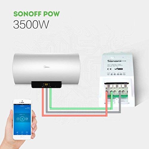 Sonoff Pow WiFi Wireless Switch ON/Off, 16A/3500W mit Echtzeit Stromverbrauch Messung, Intelligent WLAN APP Fernbedienung Steckdose, Funktioniert mit Aamazon Echo Alexa und Google Home (1PCS)
