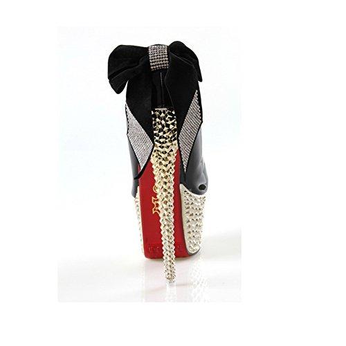 VogueZone009 donna,pagabile smerigliato PU scarpe alla moda a punta chiusa coi tacchi a spillo e piattaforma,rosso fondo,fiocco Nero