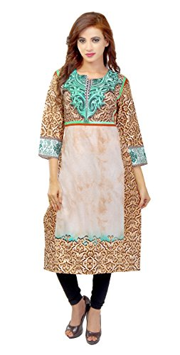 LADYBOND Digital Cotton Satin Straight Long Kurtis dress material
