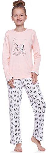 Merry Style Mädchen und Jugendlicher Schlafanzug 1033 (Lachs-1A, 146)