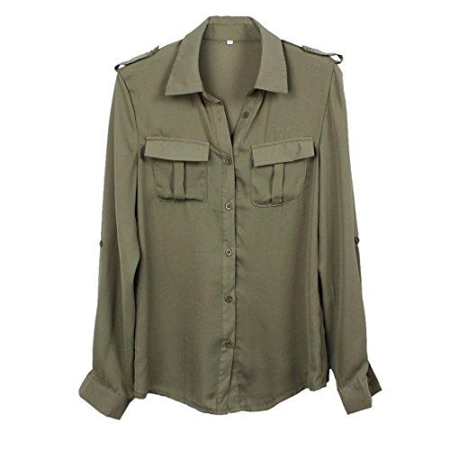 Sannysis Frauen-Armee-Grün-Hemd (M) (Flanell Rot Robe)