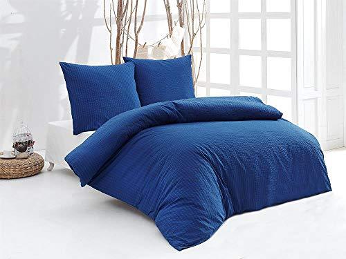 Sale And More 100% Baumwolle Seersucker Bettwäsche Bettgarnitur Set Uni Größen (Blau, 240 cm x 220 cm)