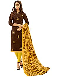 Women'S Brown Semi Stitched Embroidered Jacquard Dress Material
