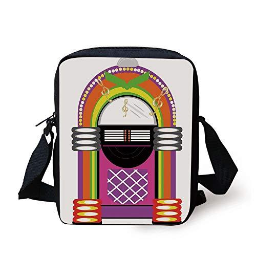 LULABE Jukebox,Cartoon Vivid Ethnic Design Vintage Music Notes Radio Box Artwork,Orange Purple and Green Print Kids Crossbody Messenger Bag Purse Orange Music Box
