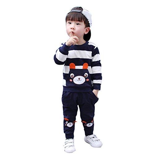 JYJM Kühle Herbst Winter Kinder Kleidung Set Gestreifte Bär Tops + Hosen Outfits (Größe: 5 Jahre, (Und Kostüm Rote Gestreifte Halloween Weiße)