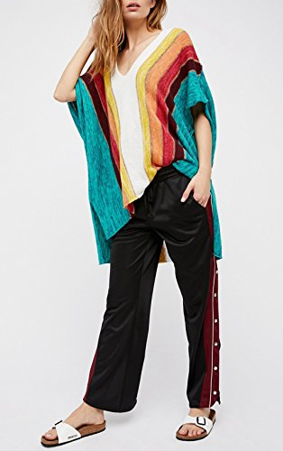 ASSKDAN Femme Multicolore Tricot à Rayure Col V Manche Courte Mini Robe Tunique Multicolore
