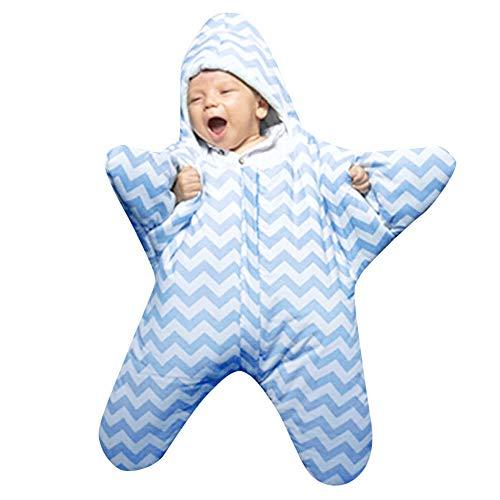 Hirolan Swaddle Neugeborenes Säugling Baby Mädchen Jungen Dreidimensional Karikatur Stern Seestern Striped Anti-Kick Sleeping Bag Herbst Winter Swaddle Muslin Decke Schlafsack (Blau, 1 Stück)