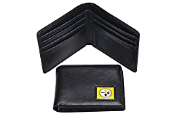 NFL Pittsburgh Steelers Men's Leather RFiD Safe Travel Wallet, 4.25 x 3.25
