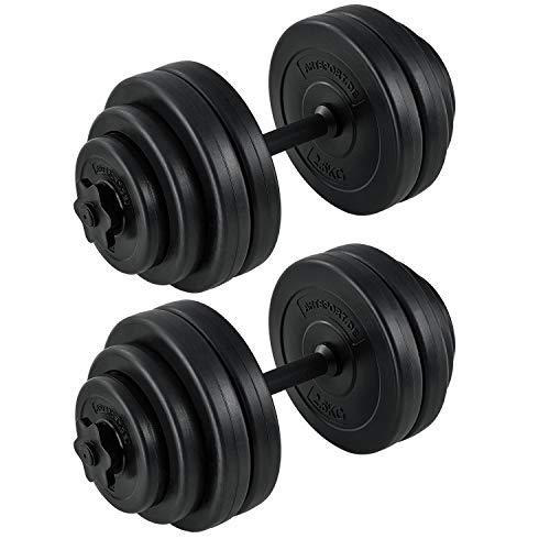 Art Sport Hantelset 30 kg - Kurzhantel-Set inkl. 2 Kurzhantelstangen, Gewichten (Kunststoff) und Sternverschlüssen | für das Krafttraining und Kraftausdauer