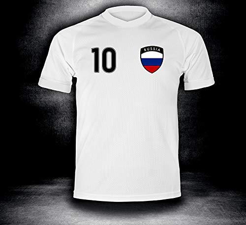 ElevenSports Russland Trikot 2018 mit GRATIS Wunschname + Nummer im EM WM Weiss Typ #RU1t - Geschenke für Kinder Erw. Jungen Baby Fußball T-Shirt Bedrucken