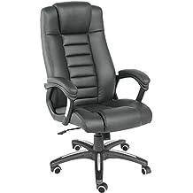 TecTake 400585 - Silla de escritorio de oficina, de cuero, color negro