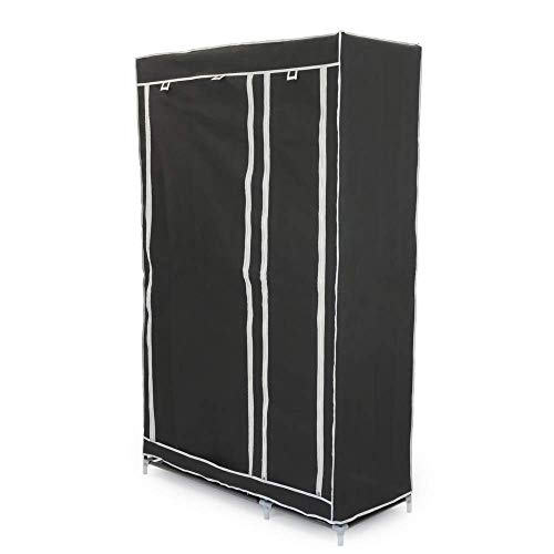 PrimeMatik - Armario ropero guardarropa de Tela Desmontable 110 x 45 x 175 cm Negro Doble con Puertas enrollables