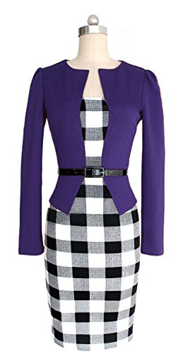 KingField - Robe - Crayon - Manches Longues - Femme - Purple Long Sleeve
