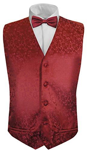 Kinder Anzug Weste mit Fliege 2tlg bordeaux rot floral für Kinderanzug Gr. 6