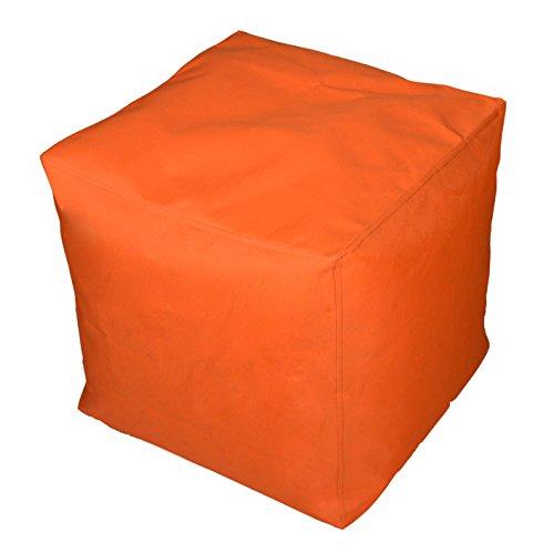 Kinzler S-10117/09 Sitzwürfel, ca. 40x40x40 cm, Outdoor & Indoor, Sitzsack in vielen verschiedenen Farben, wasserabweisender Hocker, orange