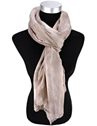 Tuch 185 cm x 75 cm Damen Schal Halstuch rot beige schwarz mit Fransen Gr