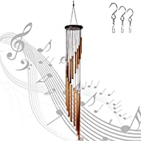 "Wind Chimes Outdoor,36"" Wind Chimes with 3 S Hook,18 Aluminum Alloy Tubes Large Wind Chimes for Garden Patio Backyard Home Decor(Golden)"