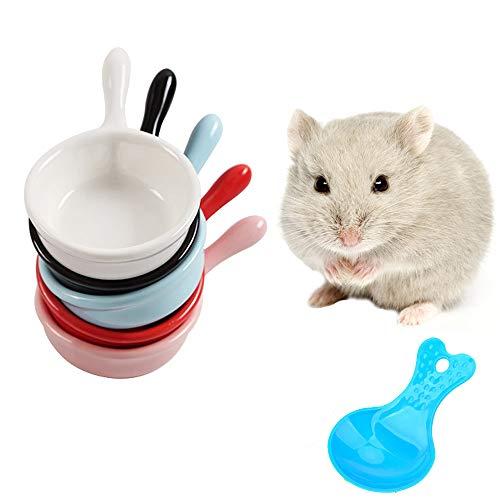 HanryDong Cuenco Pequeño para animales de , 40 ml, comedero saludable para hámster, plato de cerámica para mascotas, jaula para cobaya, erizo, ratón, chinchilla, 1, 2 unidades(color al azar)