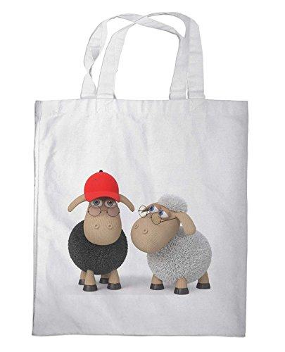 Merchandise for Fans Einkaufstasche- 38x42cm, 8 Liter - Motiv: 3D Comic Schafe mit Brille als Intellektuelle - 10
