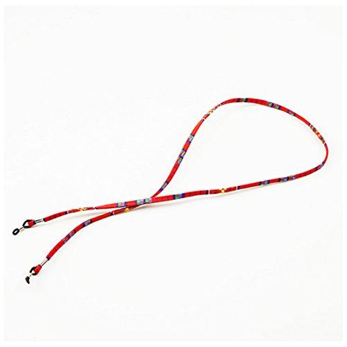 Brillen Sonnenbrillen Baumwolle Hals String Cord Retainer Strap Brillen Lanyard Halter Mit Silikon Schleife Rot (Rote Schleife Brille)