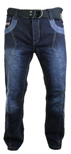 Herrenjeans Blau Straight Cut Marineblau Gewaschen Stil Kostenloser Gürtel Marineblau