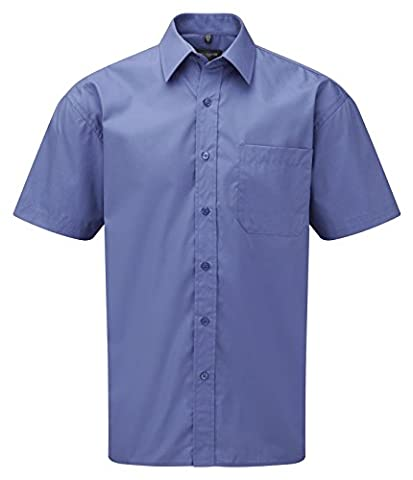 Russell Collection Short Sleeve Easy Care Cotton Poplin Shirt : Color - Aztec Blue : Size - XXL