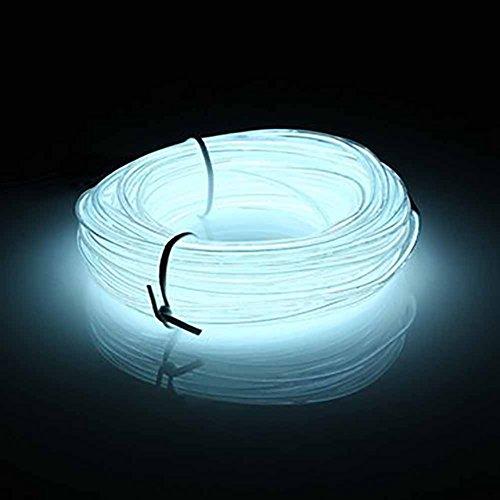 Seil Licht Led Kostüm - EL LED-Licht, 10 m Neonlichter, leuchtend, Stroboskop, Party, Kostüm, Dekoration, flexibles EL Seil, Neonschild, wasserdichte LED-Streifen für Innen- und Außenbereich, Dekoration(1 Stück weiß)