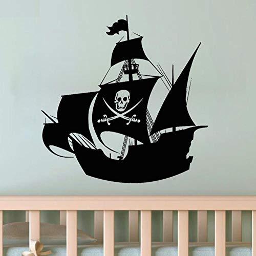 Dwqlx Piratenschiff Wandaufkleber Schwerter Und Schädel Dekoration Anime Cartoon Wandtattoos Kinder Kinderzimmer Wohnkultur 58 * 58