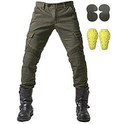 """Pantalons de Moto Homme Jeans en Jean avec 4 Protections Protections Pantalon Racing Knight (Armygreen, XL- (Waist 36.5""""))"""