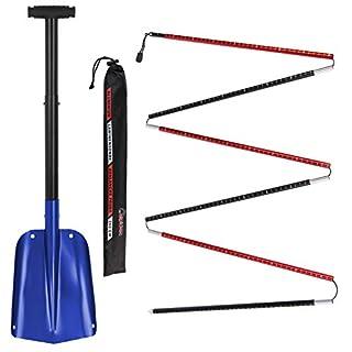 ALPIDEX Combination Package : Aluminium Avalanche Probe and Telescope Snow Shovel, Colour:Blue - 260 cm