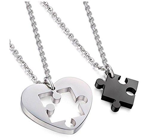 URBANSTYLES - Edelstahl Schmuck Partner-Kette für Verliebte - Paar Halskette mit Anhänger für Sie und Ihn - Herz/Puzzle (Herz Halskette Paar)