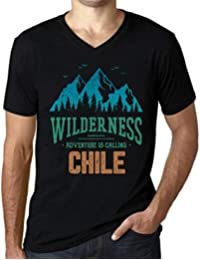 One in the City Hombre Camiseta Vintage Cuello V T-Shirt Gráfico Wilderness Chile Negro