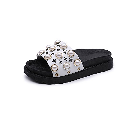 ZYUSHIZ Dicke Frau Hausschuhe Sandalen künstliche Perle flache Unterseite  Weitergeleitet coole Hausschuhe 37EU