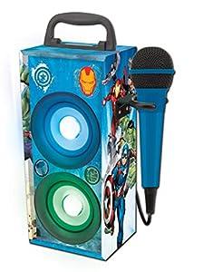 LEXIBOOK- Marvel, Los Vengadores - Altavoz Portátil Inalámbrico con Bluetooth, Luces Disco, Micrófono, Toma Jack, USB, SD, Batería Recargable (BTP155AVZ), Color Azul (1)