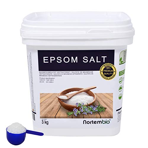 NortemBio Sel d'Epsom 3 Kg. Source concentrée de Magnésium, Sel 100% Naturel. Bain et Soins Personnels. E-Book Inclus.