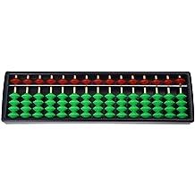 TOOGOO(R)abaco de plastico de 15 digitos Soroban aritmetico Herramienta de calculo para ninos --- Cuentas rojas y verdes