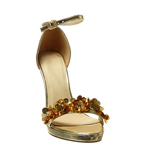 Angkorly Scarpe Moda Sandali Scarpe Decollete Stiletto Sexy Elegante Donna Fiori Strass Tanga Tacco Stiletto Alto 10.5 cm Oro
