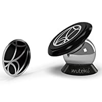 Best Car Phone Holder 100% Universal Magnetic Dashboard Mount Kit by Wuteku | For All Vehicles, Phones & Tablets | iPhone X,8,7 Galaxy S8 S7 | 2 Discs & Plate Inc | Top Rated by Uber Drivers