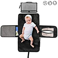 Buyger Portable Nappy Baby Changing Mat Foldable Diaper Changing Pad Home Travel Outdoor Kit for Parents with Newborns (Grey)