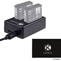 CamKix replacement Dual Charger compatible with GoPro HERO 5 Batteries (AABAT-001) - Quickly Charges up to 2 GoPro HERO 5 Batteries via USB C or Micro USB - Red/Green LED Charging Status Indicators - USB Cable Included