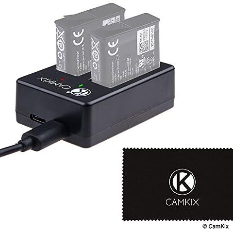 Chargeur Dual Pro de CamKix pour Batteries de GoPro HERO 5 (AABAT-001) - Charge rapidement jusqu'à 2 GoPro HERO 5 Batteries via USB C ou Micro USB - Voyant rouge / vert Voyants d'état de charge - Câble USB inclus