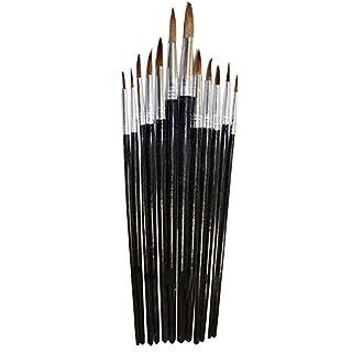 ARTISTS BEST Artist's Deluxe Pointed Paint Brush 12 Piece Set - Sizes 1-12: TZ63-06335