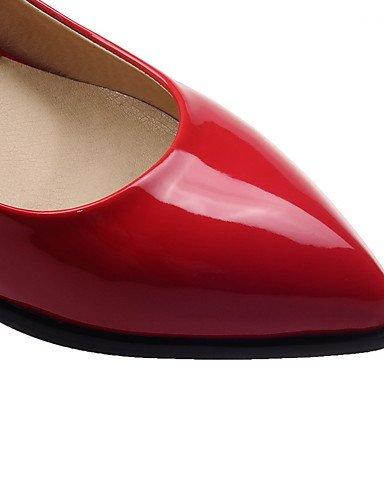 WSS 2016 Chaussures Femme-Bureau & Travail / Habillé-Noir / Rouge / Blanc-Talon Bas-Confort / Escarpin Basique / Bout Pointu-Talons-Cuir Verni white-us8 / eu39 / uk6 / cn39