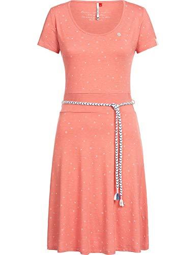Druck-knie-länge-kleid (Ragwear Damen Jerseykleid Shirtkleid mit Alloverprint Whitley Rot Gr. XS)