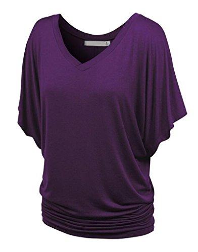 NiSeng Damen V Ausschnitt Shirring T-Shirt Kurzarm Falten Volant Dolman Ärmel Einfarbig Tunika Beiläufiges Tops Dunkelviolett