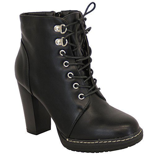Bottes Pour Femmes Chelsea Cowboy Motard Bloc Chaussures À Talons Avec Une Cheville Military Black - Te16967