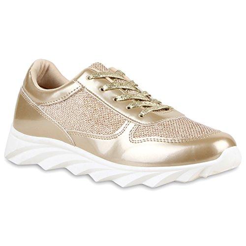 Damen Schuhe Laufschuhe Sneaker Runners Profilsohle Gold Lack Weiss