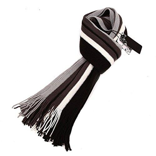 HXVU56546 Nouveau Style De Mode Hommes Chaleureux Franges Foulard en Automne Et Hiver 30 X 190 Cm Couleur Noir Et Blanc