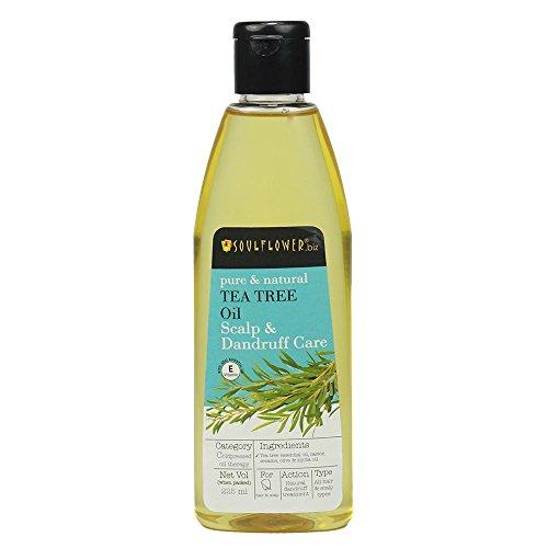 Soulflower Tea Tree Oil Scalp and Anti Dandruff Oil with Castor Oil Tea Tree Oil Sesame Oil Jojoba Oil and olive oil Scalp Therapy Hair Oil, 225ml